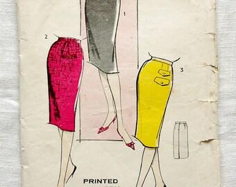 Vintage skirt pattern, Advance American Pattern P284, 1960s, One-yard skirt, size waist 24 inches