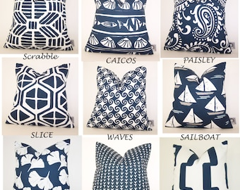 Navy Blue Outdoor Pillow -  Patio PILLOW - Outdoor - Various Sizes - Deck Pillow - Accent Pillow - Beach - Beachhouse  - 20x20,18x18,22x22