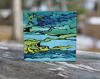 Mini Abstract Painting: Ocean Layers
