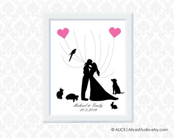 Kissing Wedding Couple Silhouette - Personalised Wedding Guest Book - Fingerprint & Signature - Canvas, Paper or Digital Printable