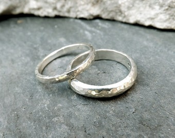 Silver Meteorite Wedding Rings: Hammered Silver Weddng Rings, Textured Rings, Rustic Wedding Rings, Set of Silver Wedding Bands