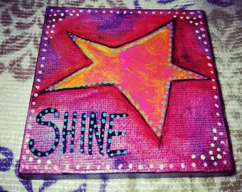 Star art, Star Shine,  abstract miniature art painting