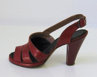40s Vintage Red Platform Heels Open Toe Slingback Shoes