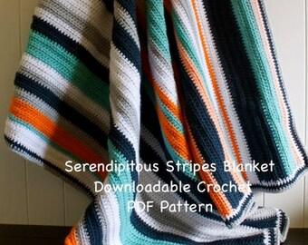 Crochet Pattern - Serendipitous Stripes Blanket - Crochet PDF Pattern- easy crochet pattern- beginner crochet pattern