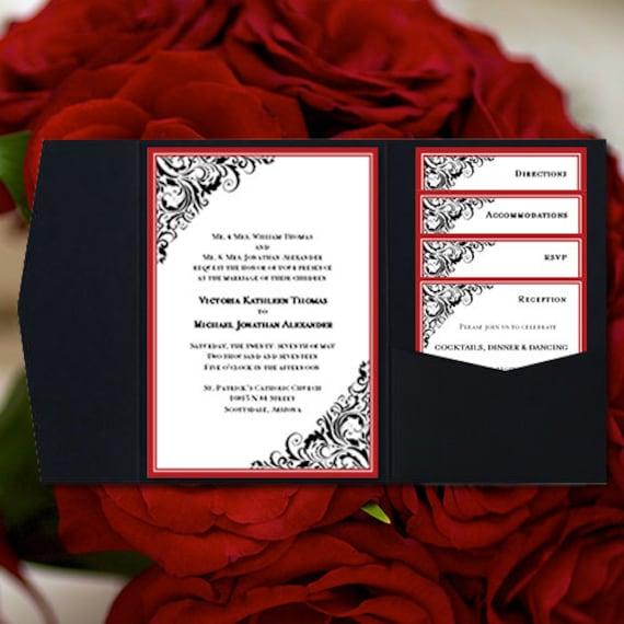 Diy Wedding Invitations Templates: DIY Pocketfold Wedding Invitations Brooklyn Red