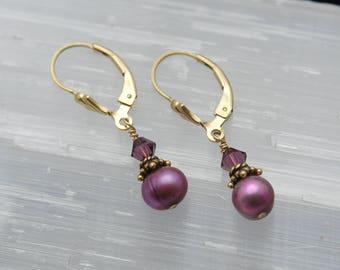 Plum Pearl earrings   Purple Pearl earrings dangle   Pearl drop earrings   Wedding gift earrings   Bridesmaid earrings   Bridesmaid jewelry