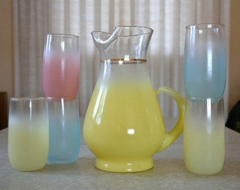 Blendo pitcher with five colorful tumblers, set, yellow, blue, pink, pastel and gold trim, mid century drinkware set, barware, West Virginia
