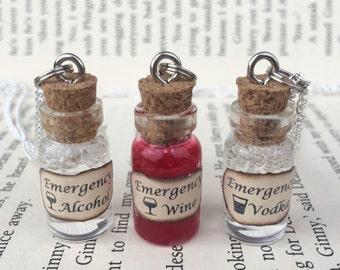 Emergency Alcohol , Wine, Vodka Bottle Necklace / Pendant / Bookmark / Earrings / Decoration / Keyring
