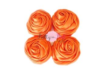 Orange Satin TWISTED Rosettes- You Choose Quantity- Rolled Rosettes- Rolled Rosettes- PrettyinPinkSupply- DIY Supply Shop