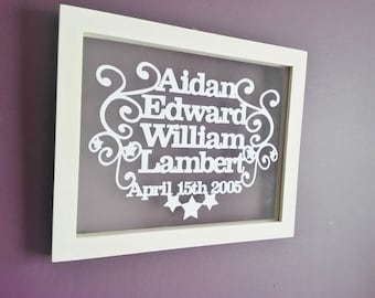 Hand cut papercut birth details in a a4 floating frame, personalised