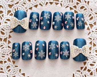 Christmas nails, holiday nail, blue nail, 3D nail, snowflake, bow, nail bow, kawaii nails, pretty nails, press on nails, 3D Japanese nails,