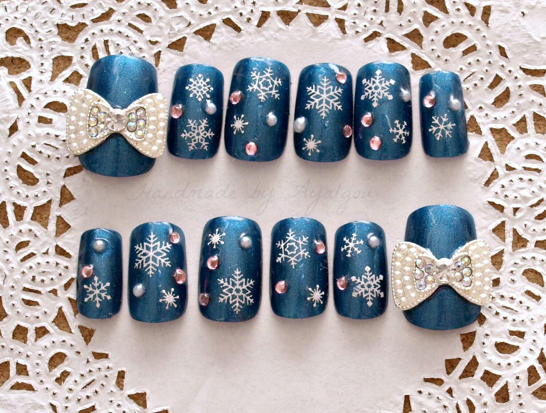 Christmas nails holiday nail blue nail 3D nail snowflake