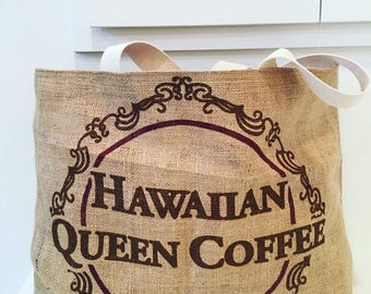 Beach Bag/ Market Bag/ Hawaiian Queen Coffee Sack / Unicorns and Rainbows