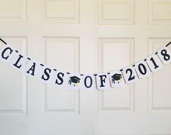 Class of 2018 banner- Graduation banner- Black and white banner- Cap and Certificate Banner- Graduate Banner- Congrats Grad Banner