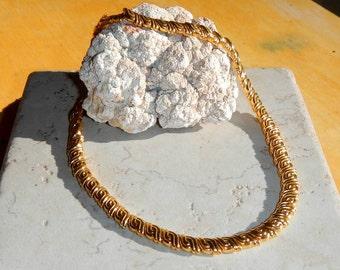 Vintage Monet Link Necklace In Gold Tone Ecletic Pattern