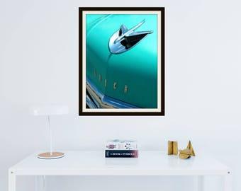 1956 Vintage Teal Buick Car | Green | Blue | Hood | Airplane Hood Ornament | Thunderbird | Card | Wall Art | *Digital Download Only*