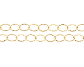 14kt Gold Filled 6x8mm Flat Hammered Cable Chain - 20ft discounted price  (2324-20)/1