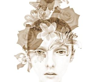 Fantasy floral portrait, digital print, modern portrait, contemporary art, photomontage, abstract, fine art, fantasy portrait, surreal face