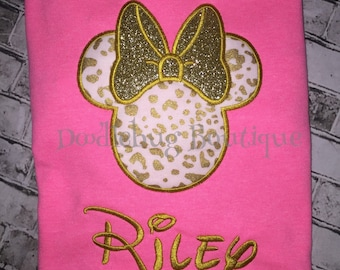 Glitter leopard Minnie Mouse shirt