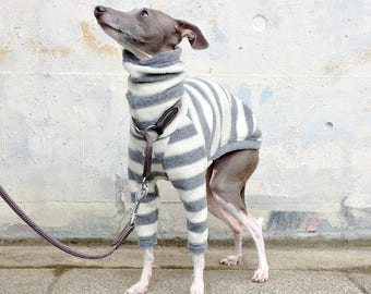 Italian Greyhound Clothing, Fleece, Long sleeves T-shirt, Stripe [White/Gray]
