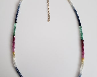 Citrine, Ruby, Sapphire, Emerald  Necklace with 14K Gold filled extension