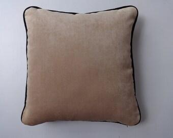 Peach Codroy throw pillow. decorative cushion cover. With  black piping edge. light  peach throw  pillow.  18 inch. custom  made