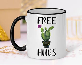 Funny Cactus Mug, Free Hugs Cactus Mug, Free Hugs, Cactus Mug, College Student Gift, Gift for Best Friend, Coworker Gift, Cactus Mug