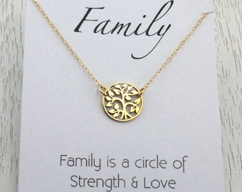 Tree of Life Pendant in Gold or Silver, Tree Charm Necklace, Gold Wedding Anniversary Gift, Initial Tree Charm,  Mother Birthday Gift