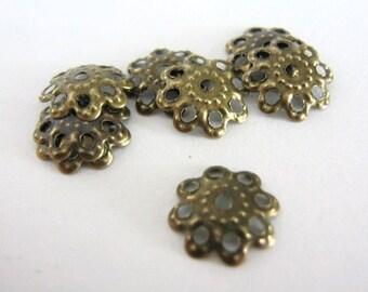 50 Filigree Bead Cap, 10mm Flower Bead Caps, Antique Bronze Flinish