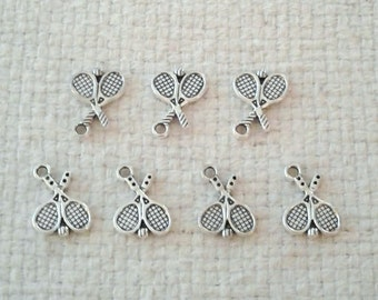 Tibetan Silver Tennis Racket Charms - 18 x 14 mm - Sets of 7