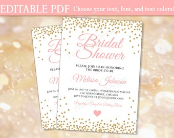 Bridal shower invitation (INSTANT DOWNLOAD) - Bridal shower invites - Bridal shower invitation template - Pink and gold Bridal shower BR001