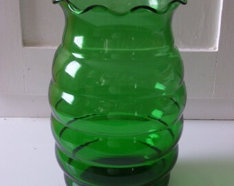 Green Glass Vase-7 inches tall