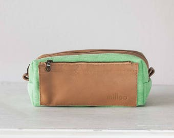 Travel case in green jeans and brown leather, accessory case toiletry storage organizer groomsman gift case - Skiron travel case