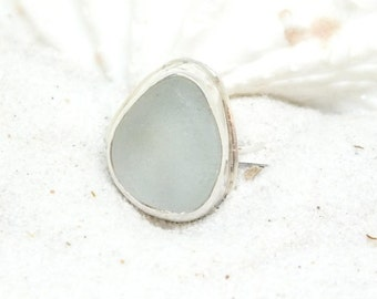 Sea Glass Ring, Sterling Ring, Ring Size 7.25, Sterling Sea Glass Ring, Sea Glass Etsy, Beach Ring, Beach Glass Jewelry,