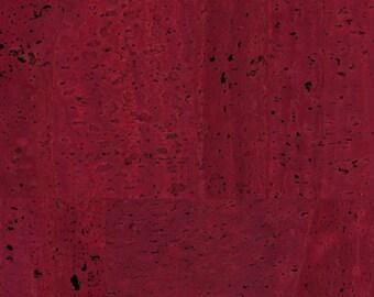 Natural Cork Fabric, Cork Leather, Burgundy Wine - Stitchable Cork, Vegan Leather Alternative - Elite Premium Natural cork