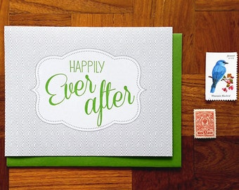 Happily Ever After, Letterpress Note Card, Blank Inside