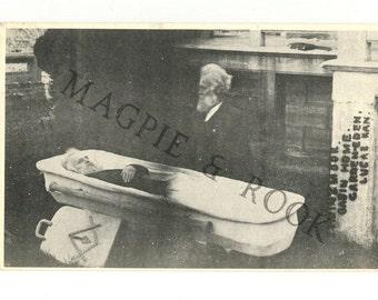 Bizarre Double-Exposure Coffin Photo BW Postcard - SP Dinsmoor - Garden of Eden