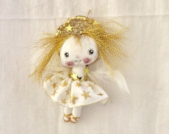 Angel doll ,white gold Angel , Angel ornament , Tree  Angel , hand made Angel , Angel Gift