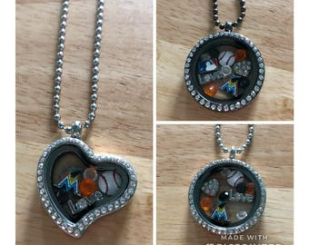 Miami marlins baseball floating charm necklace! Free shipping!