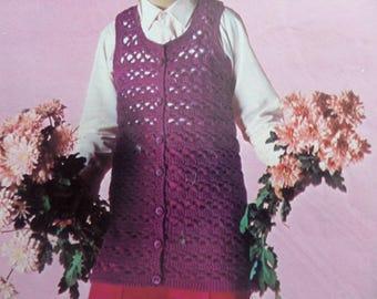 """Crochet Pattern Girls Round Neck Waistcoat DK 26-30"""" Chest Vintage"""