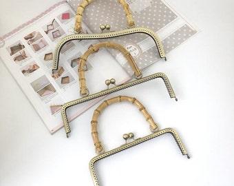 Natural Stlye Bronze Kisslock Frame, Bamboo Handle, 20/25/26cm -- 7.8/9.8/10.2 inch, 1 PCS