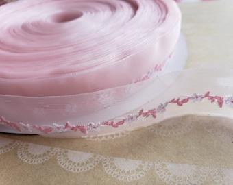 "PINK Sheer Floral Trim - Crafting Ribbon - 1"" Wide"