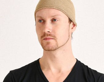 Skullcap Skull cap Knit Beanie Hat Hand Made Cotton Just fit Size Firm Texture Islam Cap Middle East Style Unisex men women is-shi