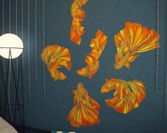 GOLDFISH Stencils Kit - Nursery Wall Stencils - Set Of 3 stencils - Wall Stencil