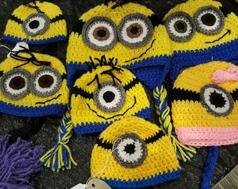 Made to Order Minion Hat & Mittens / Wristlets