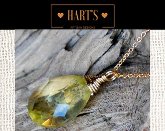 Lemon Quartz Pendant 14K Gold Necklace