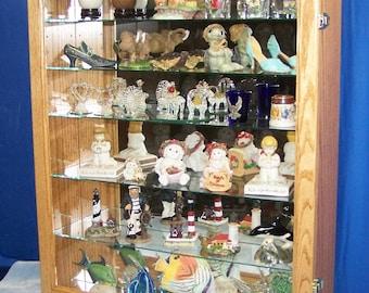 Oak Wall Curio Cabinet Display