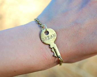 Hand Stamped Gold Tone Vintage Key Bracelet, Word Key Bracelet Dream, Brass Key Bracelet