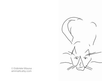 Cat drawing made into / Three Greeting Cards // cats / drawings of cats / simply black on white / purr purr  inside blank