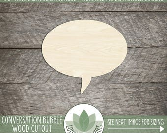 Round Conversation Thought Bubble Woodcut Shape, Unfinished Wood Conversation Bubble Laser Cut Shape, DIY Craft Supply, Many Size Options